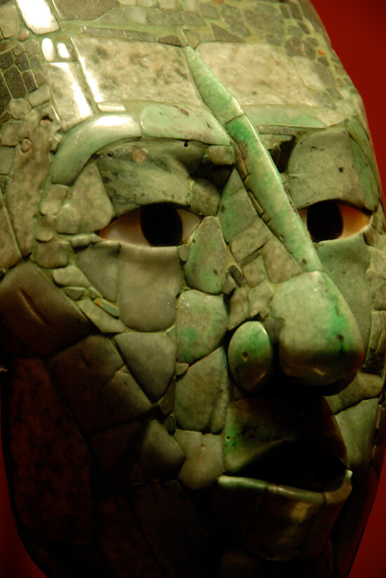 The funerary mask of Pakal the Great, now in the National Museum of Anthropology, Mexico City