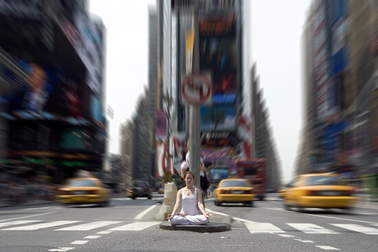 Yoga in Times Square, New York
