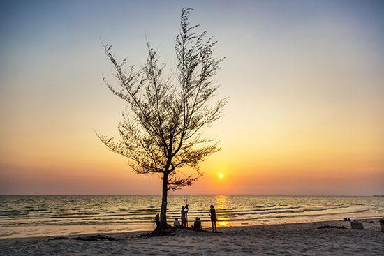 Sunset in Otres Beach in South Cambodia