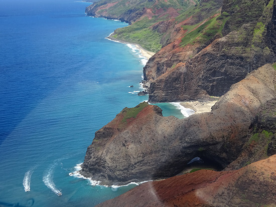 Erica's view of the Napali Coast from the helicopter (image: Erica Davis)