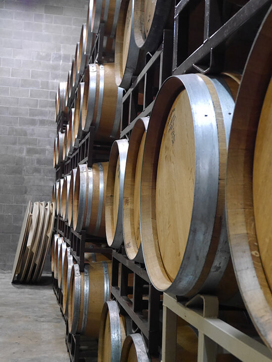 Barrels in a Sonoma winery