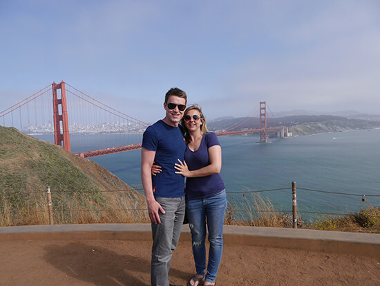 Alex and partner Brad at the Golden Gate Bridge vista (image: Alexandra Gregg)