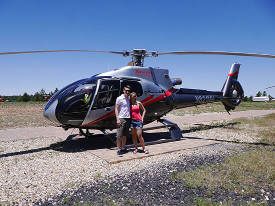 Alex and Bradley in front of their Maverick heli (Image: Alexandra Gregg)