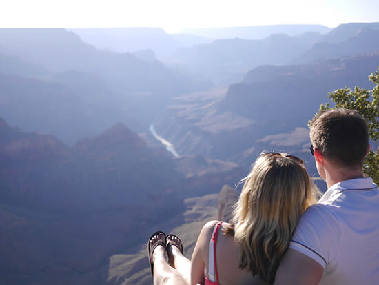 Alex and fiancé Bradley at the Grand Canyon, looking out to the Colorado River (Image: Alexandra Gregg)