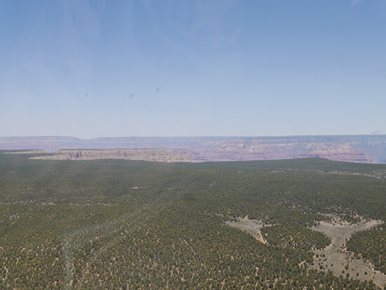 Approaching the North Rim in a Maverick heli (Image: Alexandra Gregg)