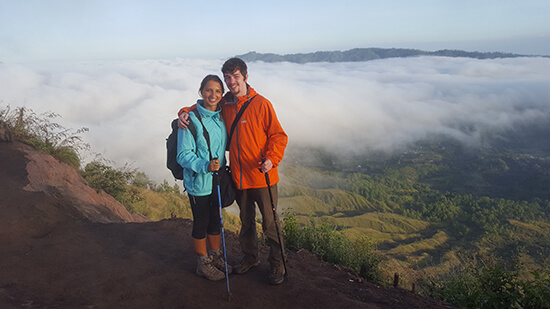 Me and Chris hiking Mt Batur (image: Helen Winter)