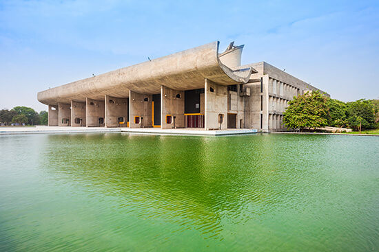 The assembly building in the Complexe du Capitole in Chandigarh