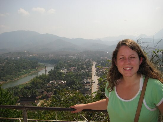 Angela at a viewpoint in Luang Prabang (image: Angela Griffin)