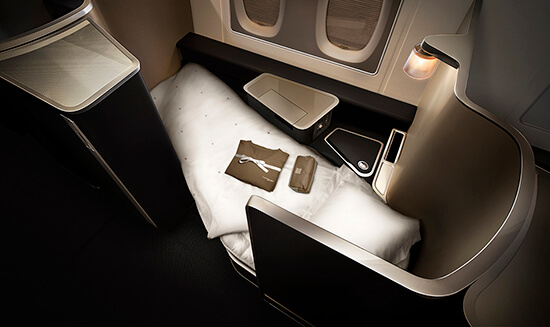 British Airways First, fully lie-flat bed