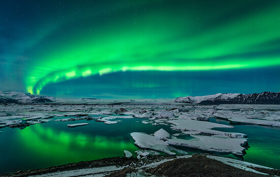 The Northern Lights at Jokulsarlon, south-east Iceland