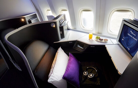 Virgin Australia Business Class seat close-up