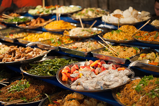 A restaurant buffet in Luang Prabang