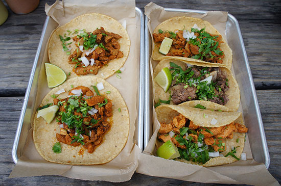 Tarcos served takeaway from Meso Maya Mexican in Dallas. Image: Lauren Burvill