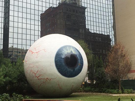 "The ""Eye"" sculpture by artist Tony Tasset. Image: Lauren Burvill"