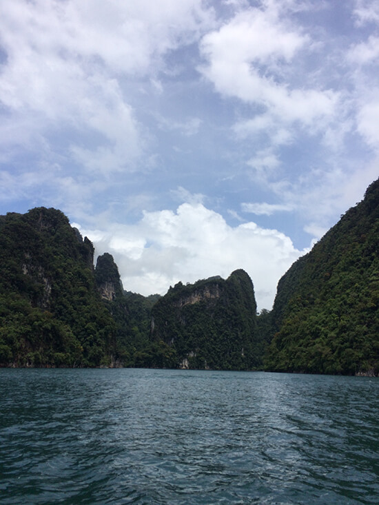 The amazing limestone karsts we passed on the boat trip to the jungle (image: Tessa Watkins)