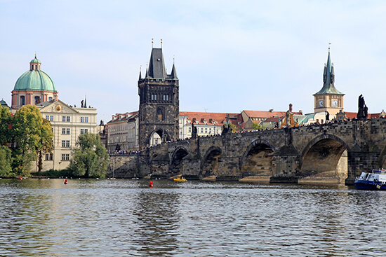 Charles Bridge, tower and Vltava river