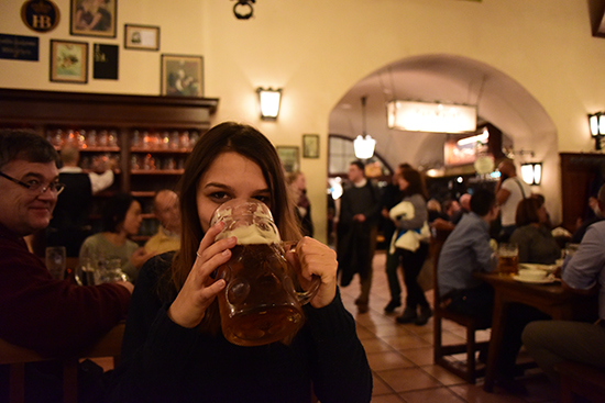 Helen in a beer hall (image: Christopher Atkinson)