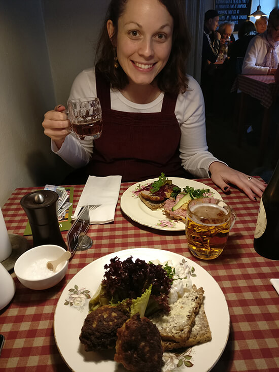 Angela trying smørrebrød and Danish ale (image: Angela Griffin)