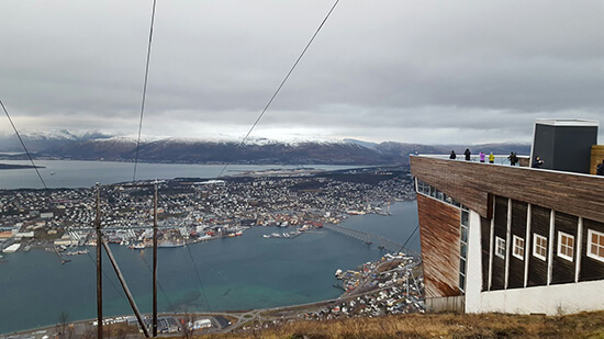 View of Tromso from Storsteinen, reached via the Fjellheisen aerial tramway