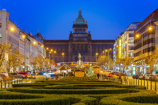 Wenceslas Square at Christmas, Prague