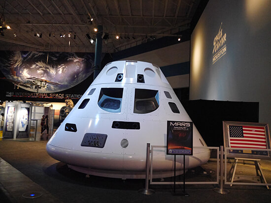 An Orion spacecraft in the Johnson Space Center Plaza (image: Alexandra Gregg)