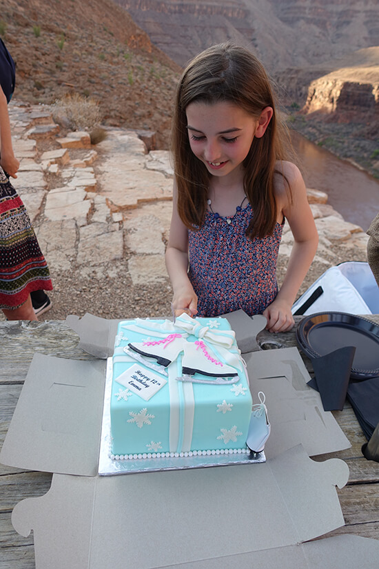 Emma and her birthday cake surprise in the Grand Canyon (image: Simon Pettitt)
