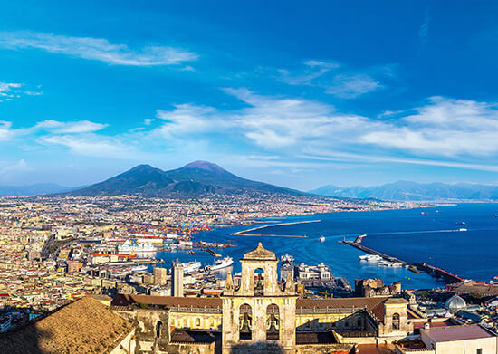 Naples, with Mount Vesuvius in the background