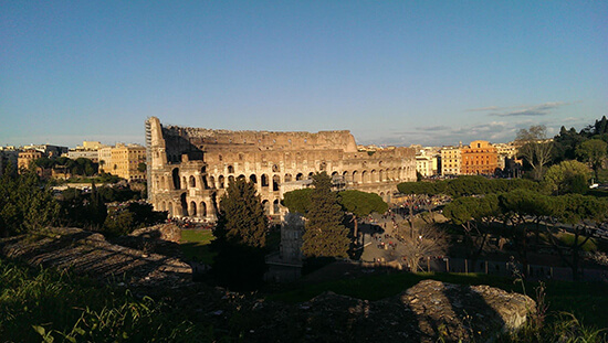 The Colosseum at sunset from the (image: Alexandra Gregg)