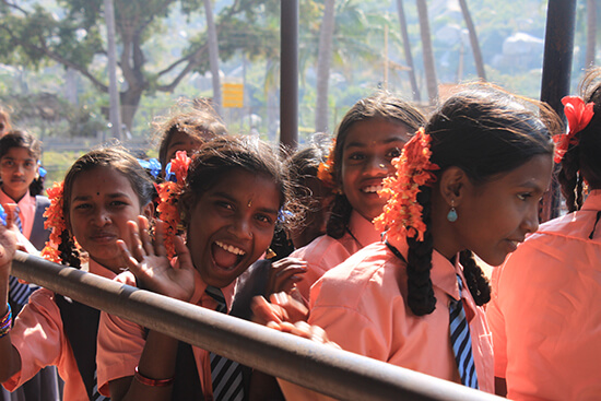 Schoolgirls on a pre-exam trip to Hampi (image: Lauren Williams)