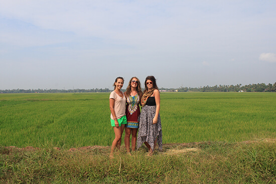 The three ladies in the Kerala Backwaters (image: Lauren Williams)