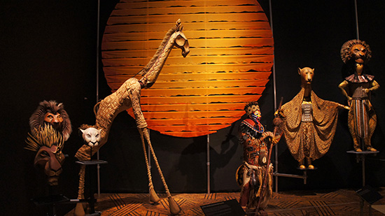 Costumes from the Lion King on display at the Lincoln Centre Art Galleries (Image: Lauren Burvill)