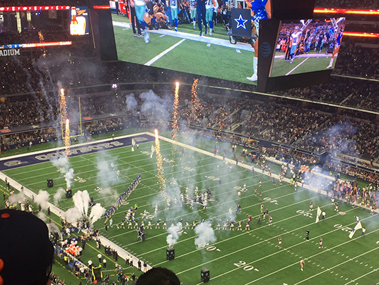 Fireworks at an NFL game in Dallas (image: Lauren Burvill)