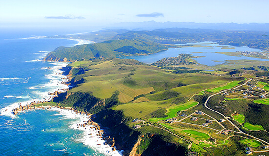Aerial view of Knysna on the Garden Route