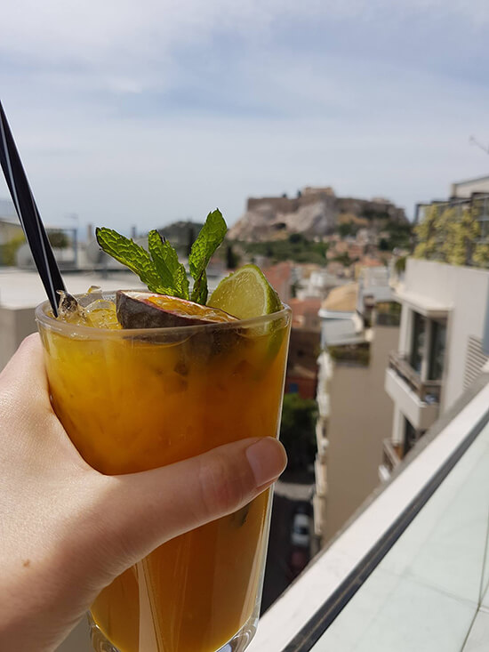 Cocktails in the rooftop bar of the New Hotel, Athens (image: Alexandra Gregg)