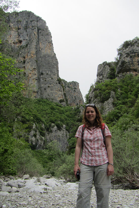 Angela hiking in Vikos Gorge (image: Angela Griffin)