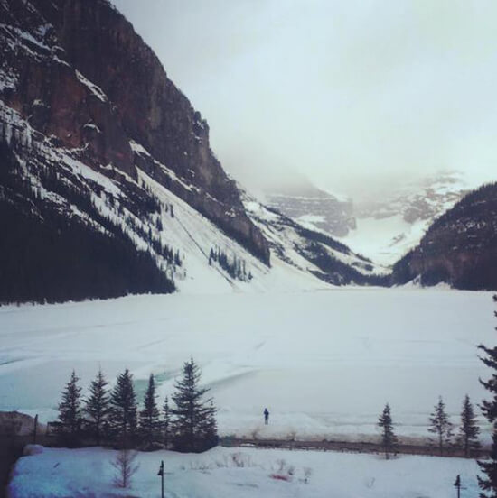 A frozen Lake Louise from the Fairmont Chateau Lake Louise (image: Adam Vanstone)