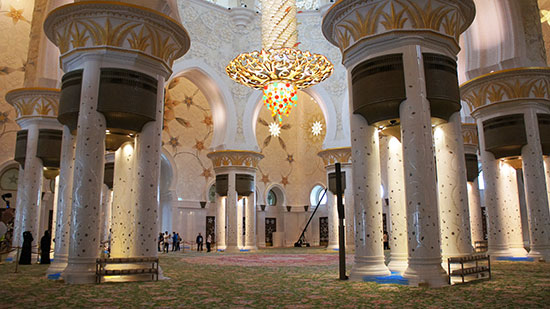 Inside the spectacular Sheikh Zayed Mosque (image: Lauren Burvill)