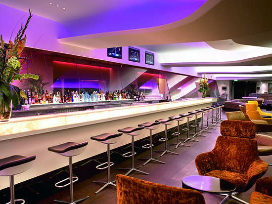 Bar at Virgin Clubhouse at London Heathrow