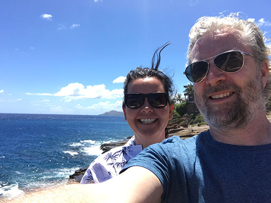 Me and my colleague Liz  in Hawaii (image: Phil Murray)