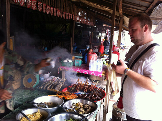 Admiring street food in Vietnam