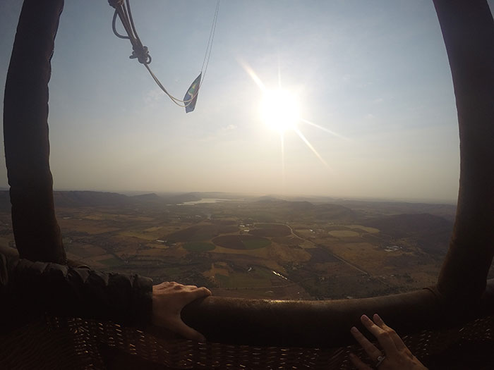 View from hot air balloon South Africa