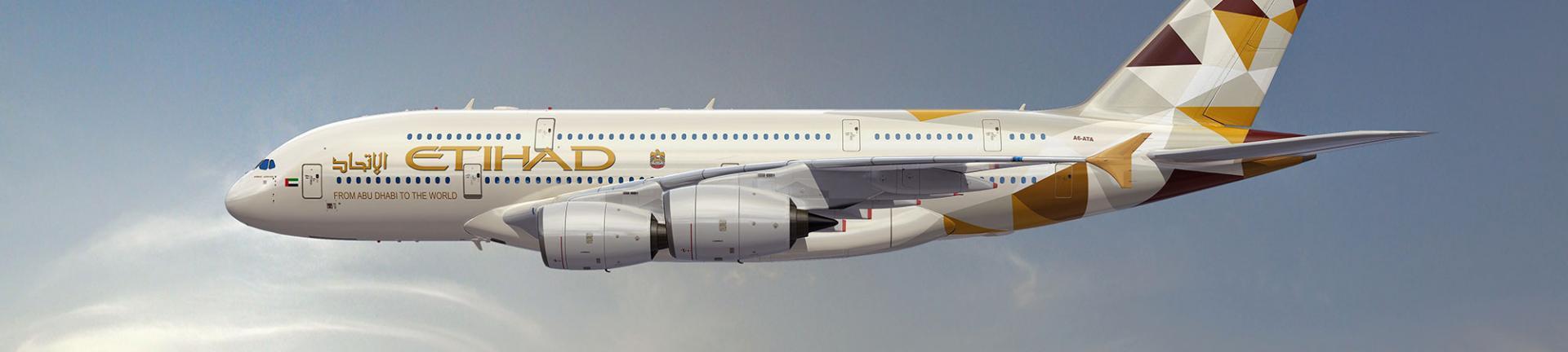 Etihad A380 plane in the sky
