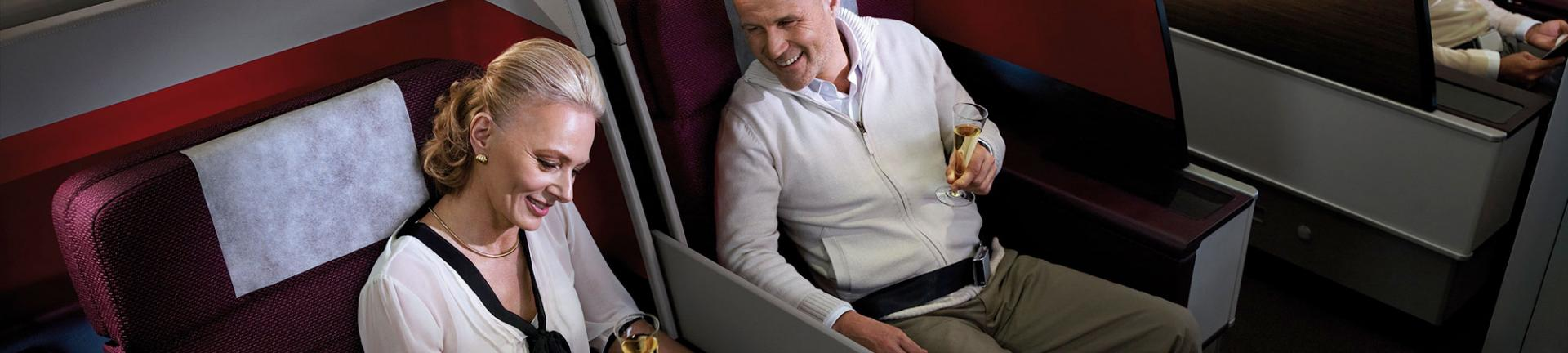 Couple onboard First Class cabin on Malaysia Airlines