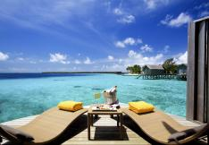 The view from a deluxe water villa at Centara Ras Fushi in the Maldives