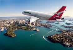 Qantas plane flying over Sydney