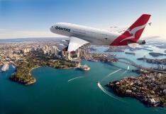 Qantas plane flying over Sydney