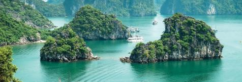 An aerial view over Ha Long Bay